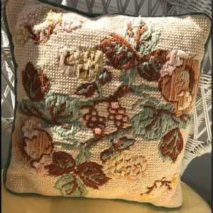 Vintage hand crocheted throw pillow